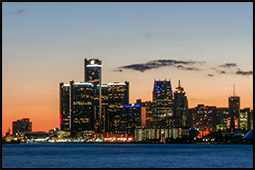 Detroit skyline with sunset