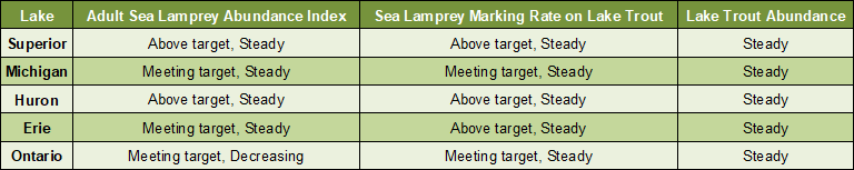Chart showing sea lamprey abundance, wounds on lake trout and laketrout abundance for each great lake