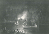 Drawing, Tribal Fishing by Torch, Historical